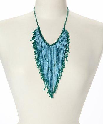 Turquoise & Teal Fringe Bib Necklace