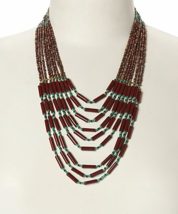 Turquoise & Brown Tiered Beaded Strand Bib Necklace