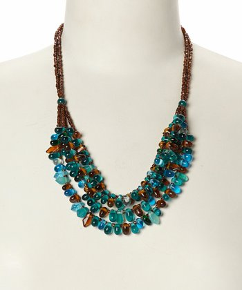 Teal & Brown Tiered Bib Necklace