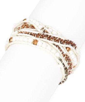 White & Tan Beaded Wrap Bracelet