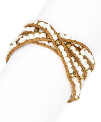 White & Brown Beaded Wrap Bracelet