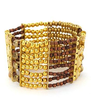 Gold & Copper Layered Bead Stretch Bracelet