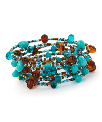 Teal & Brown Layered Round Bead Coil Bracelet