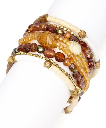 Natural Brown Bead Stretch Bracelet