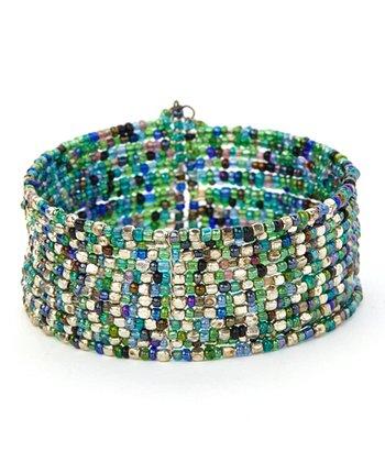 Blue & Green Beaded Coil Bracelet