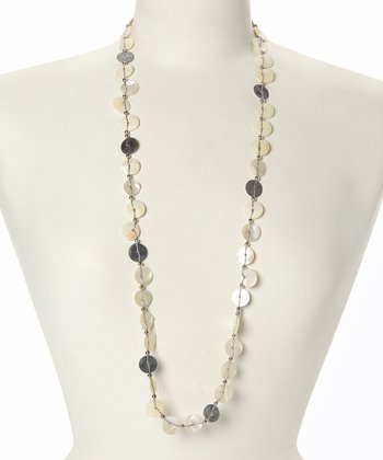 White & Silver Shell Disc Necklace