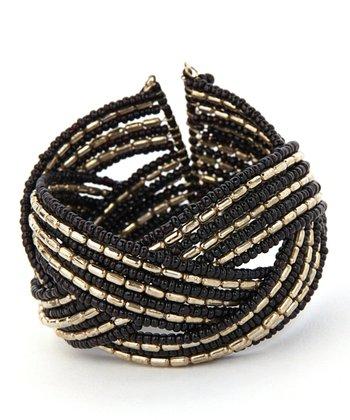 Black & Silver Beaded Criss-Cross Coil Bracelet