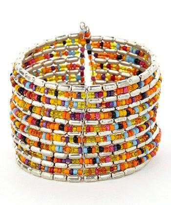 Orange & Green Oval Bead Layered Bracelet
