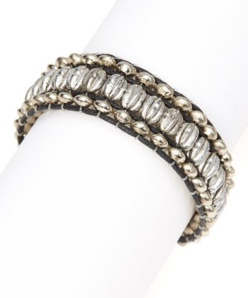 Black & Silver Bead Cord Bracelet