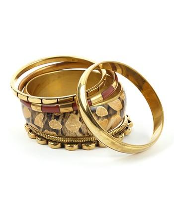 Brown & Gold Queen Bangle Set