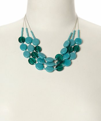Turquoise Disc Bead Bib Necklace