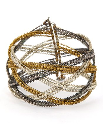 Silver & Gold Beaded Cutout Coil Hinged Bangle