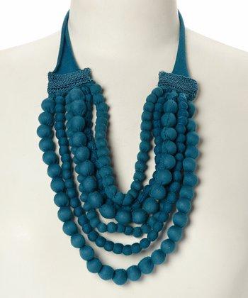 Blue Fabric Bead Bib Necklace