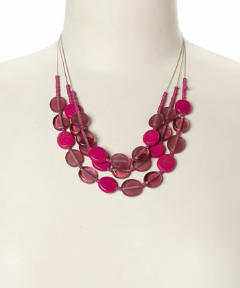Pink Disc Bead Bib Necklace