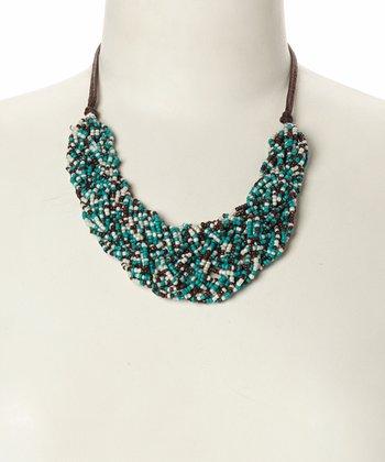 Turquoise & Ivory Braided Bead Bib Necklace