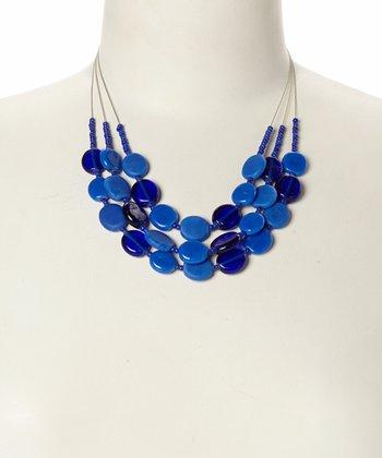 Blue Disc Bead Bib Necklace