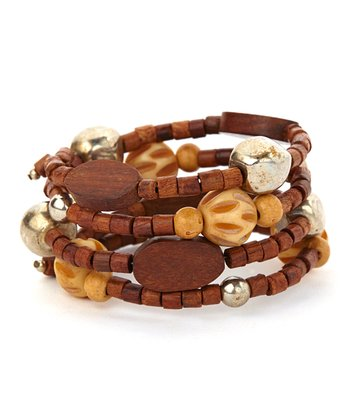 Brown & Ivory Wooden Bead Stretch Bracelet