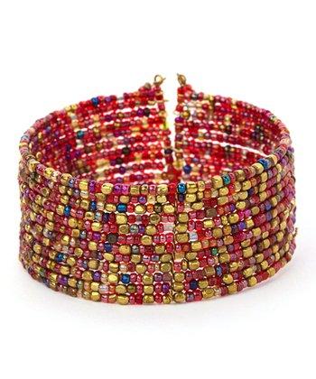 Red & Gold Layered Bead Cuff