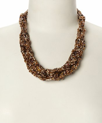 Brown Beaded Spiral Necklace
