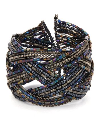Black & Purple Beaded Criss-Cross Bracelet