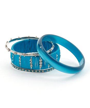 Blue & Silver Threaded Bangle Set