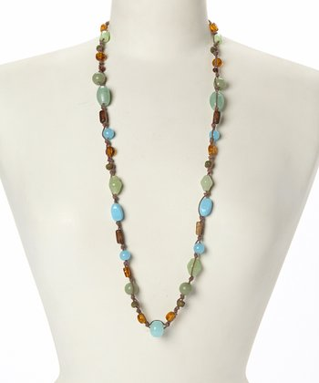 Turquoise & Brown Stationary Bead Necklace
