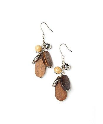 Brown & Silver Wood Cluster Earrings
