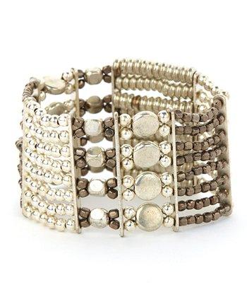 Black & Hematite Round Layered Bead Stretch Bracelet