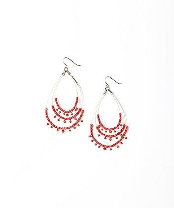 Red & Silver Triple Tiered Teardrop Earrings