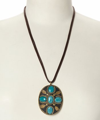 Turquoise & Gold Oval Pendant Necklace