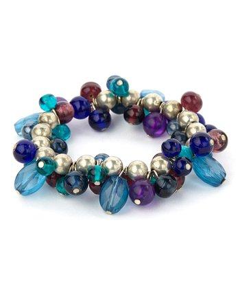 Blue & Purple Round Bead Stretch Bracelet