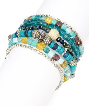 Teal Beaded Stretch Bracelet Set