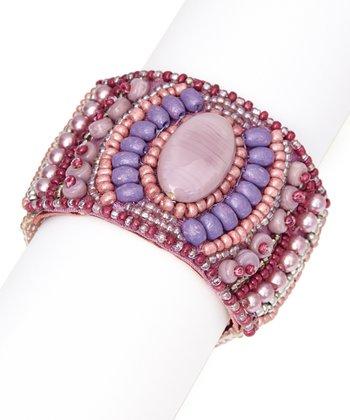 Purple & Lilac Tribal Bead Stretch Bracelet