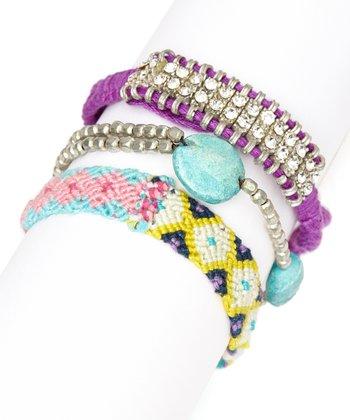 Teal & Purple Braided Bracelet Set