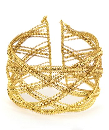 Gold Criss-Cross Cutout Bead Bracelet