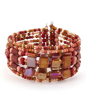 Red & Coral Square Bead Bracelet
