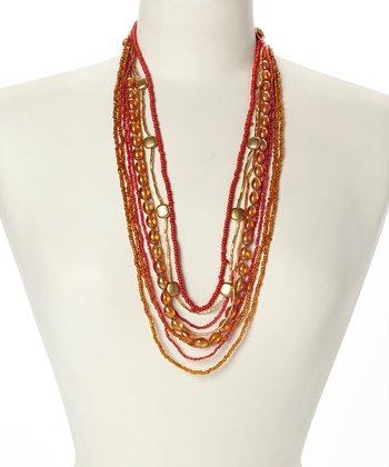 Orange & Gold Tiered Strand Bib Necklace