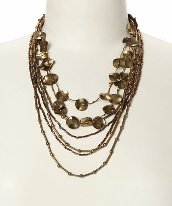 Gold Disc Tiered Strand Bib Necklace