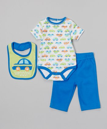 Baby Headquarters Green & Blue 'Vrooom!' Bodysuit Set - Infant