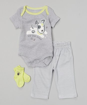 Baby Headquarters Gray & Green 'My Best Friend' Bodysuit Set - Infant