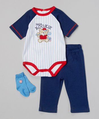 Baby Headquarters Navy & Red 'Little Rookie' Bodysuit Set - Infant