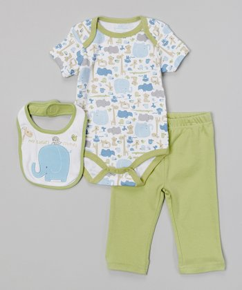 Baby Headquarters Green & Blue 'My Safari Friends' Bodysuit Set - Infant