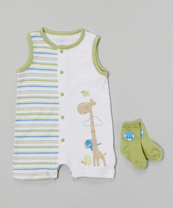 Baby Headquarters White & Green Giraffe Romper & Socks - Infant