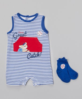 Baby Headquarters Blue & White 'Great Catch!' Romper & Socks - Infant