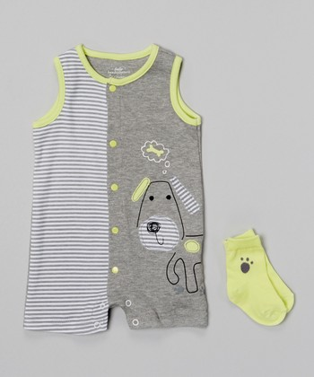 Baby Headquarters Gray & Lime Puppy Romper & Socks - Infant