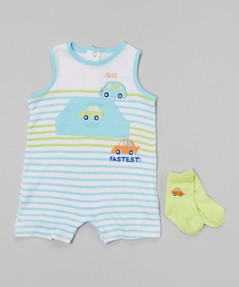 Baby Headquarters Blue & Green Stripe 'Fastest!' Romper & Socks - Infant