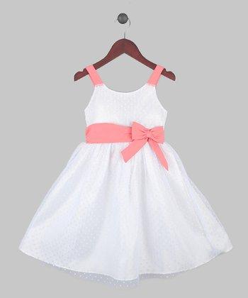 Joe-Ella White & Coral Swiss Dot Belted A-Line Dress - Toddler & Girls