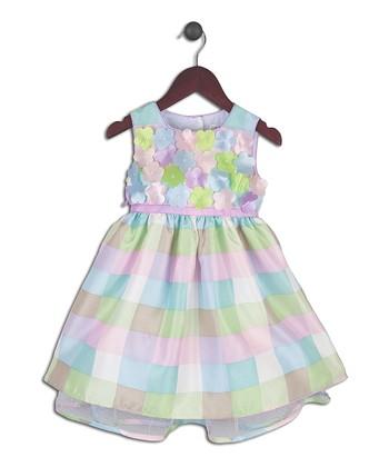 Joe-Ella Pastel Pink & Blue Checkerboard A-Line Dress - Infant & Toddler