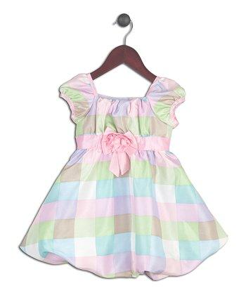 Joe-Ella Pastel Pink Checkerboard Puff-Sleeve Dress - Infant & Toddler