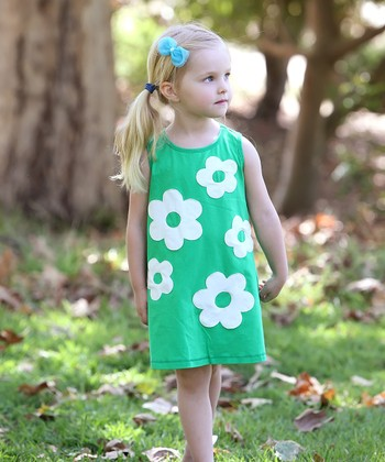 Green & Ivory Audrey Swing Dress - Toddler & Girls